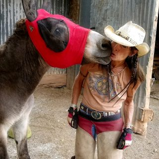 a cowgirl gets a kiss from one of the donkeys at the gold king mine and ghost town