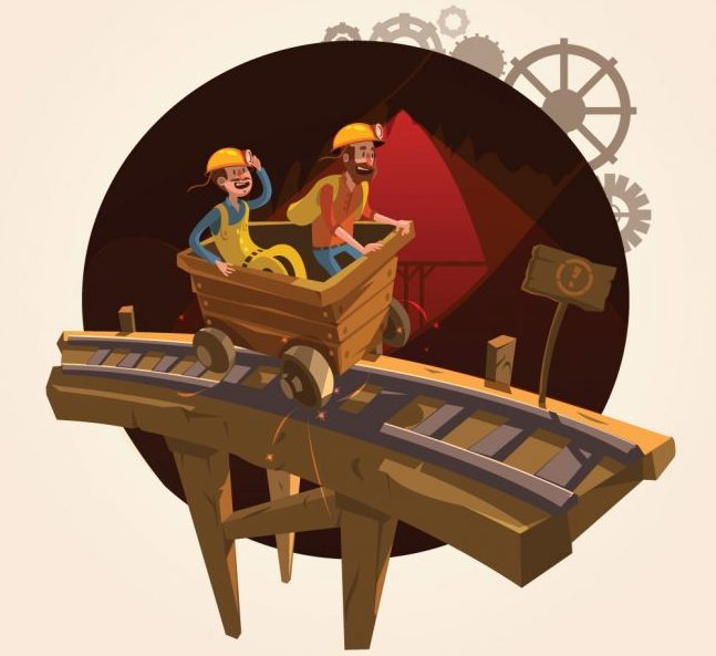 two cartoon miners in an ore cart